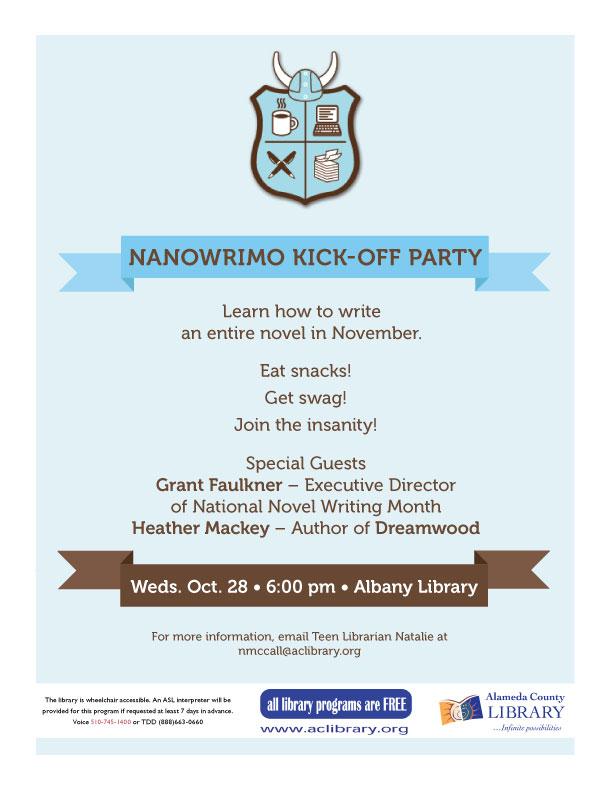 NaNoWriMo kickoff at Albany Library 10/28